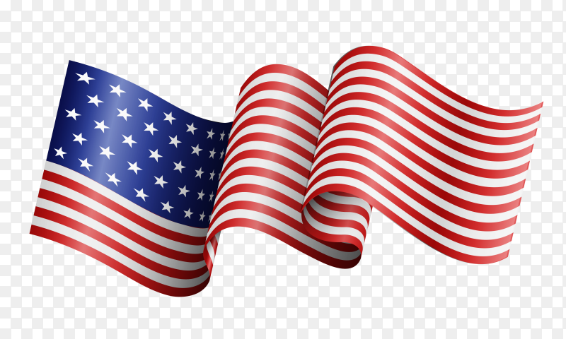 Realistic american flag waving vector PNG