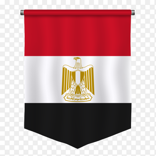 Realistic pennant Egypt flag vector on transparent background PNG
