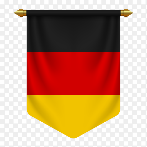 Realistic pennant flag Germany vector on transparent background PN