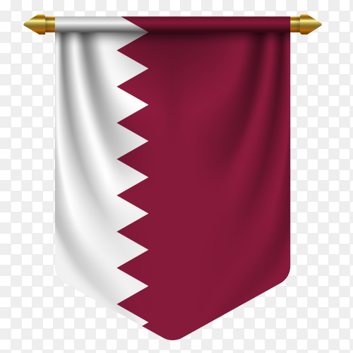 Realistic pennant flag of Qatar vector on transparent background PN