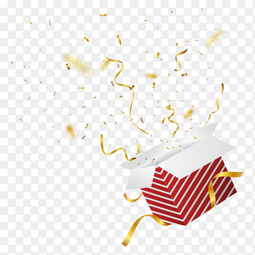 Red gift box with gold confetti explosion transparent PNG