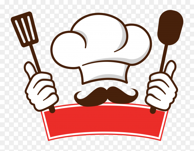 Restaurant logo with chef drawing template on transparent background PNG