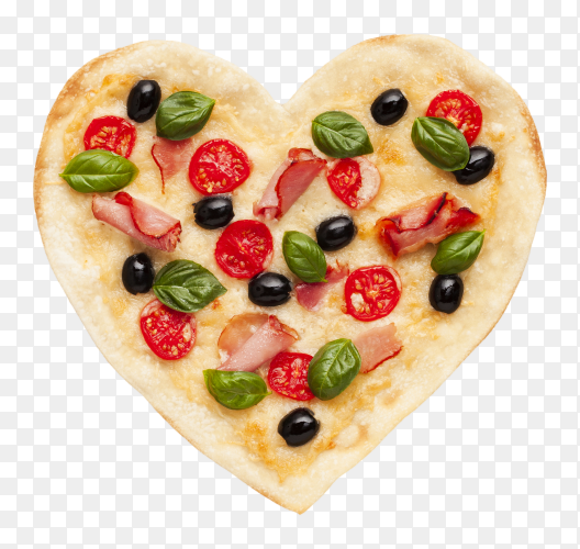 Romantic pizza Heart shaped on transparent background PNG