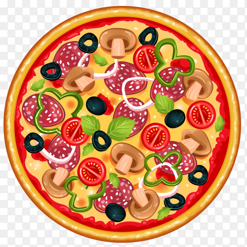 Round tasty pizza transparent PNG