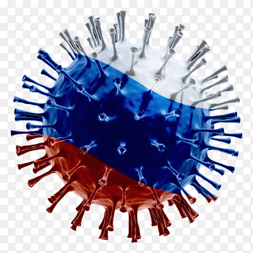 Russia flag Shaped covid-19 virus transparent PNG