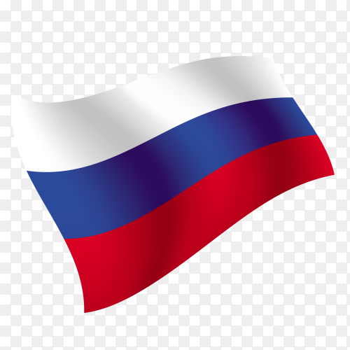 Russia flag waving vector on transparent background PNG