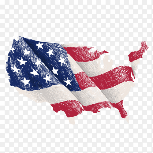 Scribble the american flag as a map of the United States vector PNG