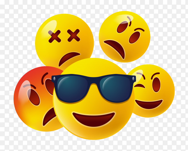 Set cute emoticons on transparent background PNG
