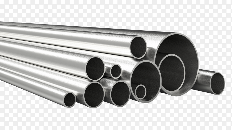 Silver pipes iron 3d rendering transparent PNG