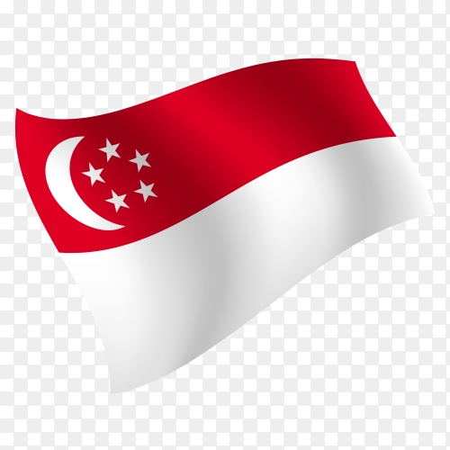 Singapore flag waving vector on transparent background PNG
