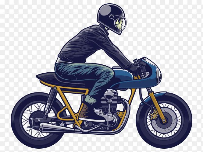 Skull rider on motorcycle illustration vector PNG