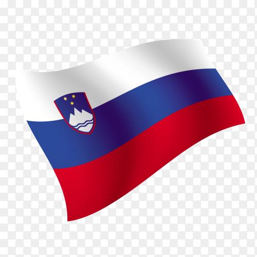 Slovenia flag waving vector on transparent background PNG