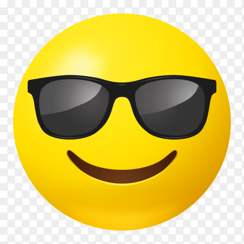 Smiling face emoji with sunglasses vector PNG