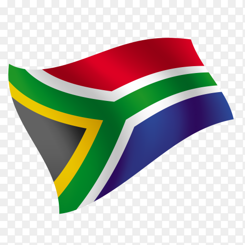 South Africa flag waving vector on transparent background PNG