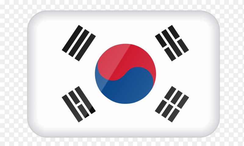 South Korea flag icon on transparent background PNG