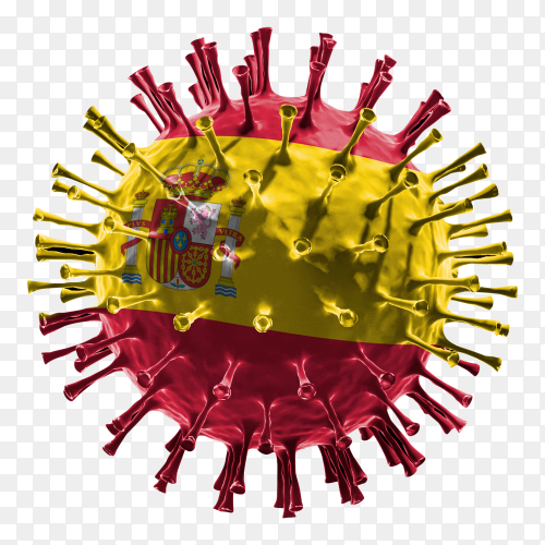 Spain flag Shaped covid-19 virus transparent PNG