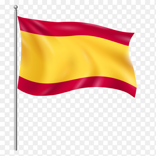 Spain flag waving vector on transparent background PNG