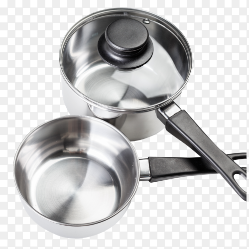 Stainless steel pots and pans – Photo PNG