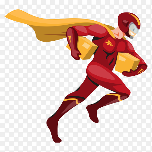 Superhero carrying package deliver to customer – delivery transparent PNG