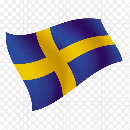 Sweden flag waving vector on transparent background PNG