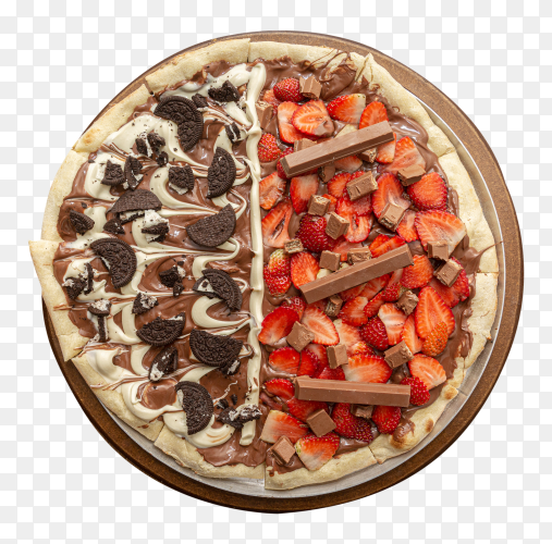 Sweet pizza with chocolate and strawberry transparent PNG