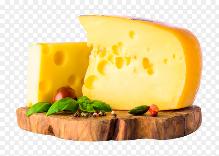 Swiss emmental cheese on transparent background PNG