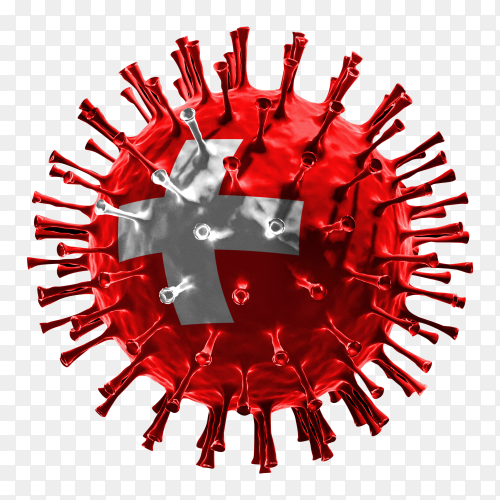Switzerland flag Shaped covid-19 virus transparent PNG