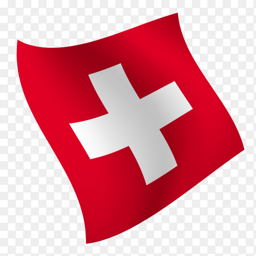 Switzerland flag waving vector on transparent background PNG