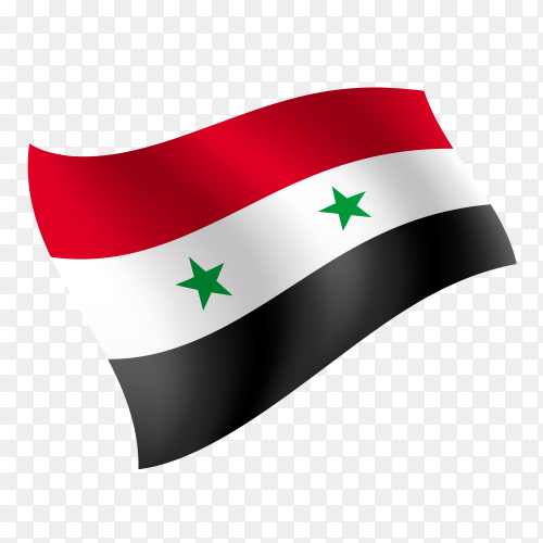Syria flag waving vector on transparent background PNG