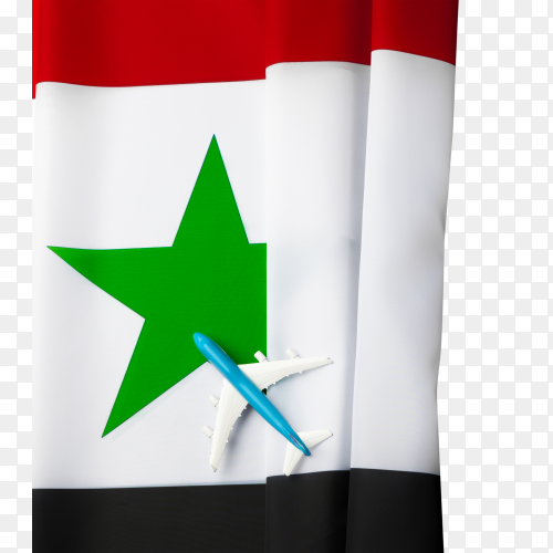 Syria flag with small toy plane on transparent background PNG