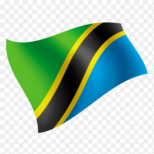 Tanzania flag waving vector on transparent background PNG