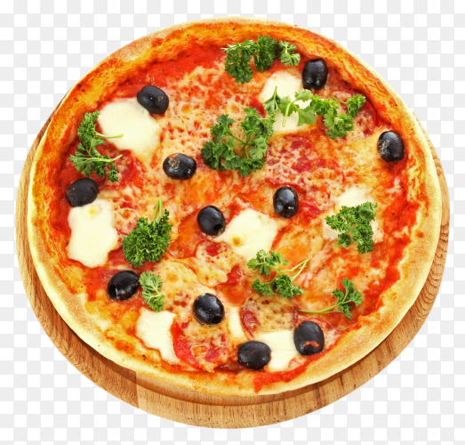 Tasty pizza with olives on transparent background PNG
