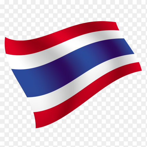 Thailand flag waving vector on transparent background PNG