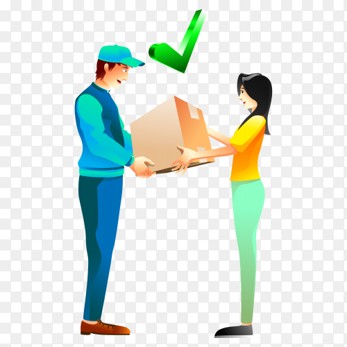 The delivery man delivers the shipment to the customer transparent PNG