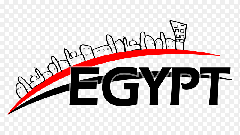 The word Egypt with the Egyptian clipart PNG