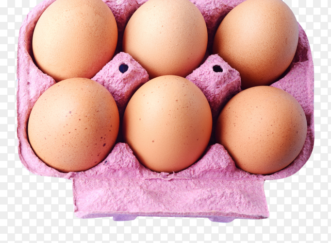 Top view six eggs in box transparent PNG