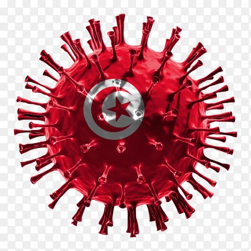 Tunisia flag Shaped covid-19 virus transparent PNG