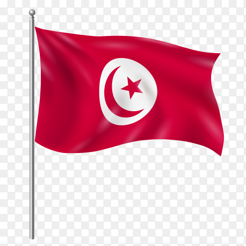 Tunisia flag waving vector on transparent background PNG