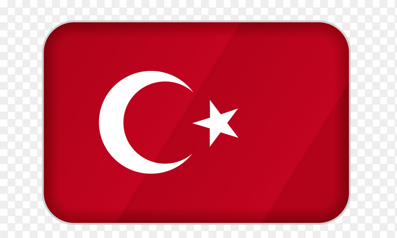 Turkey flag icon on transparent background PNG