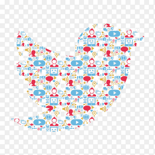 Twitter logo in the form of social networks vector PNG