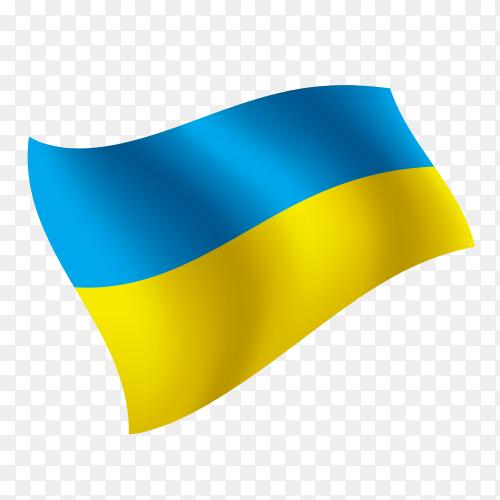 Ukraine flag waving vector on transparent background PNG