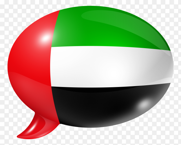 United Arab Emirates flag shaped speech bubble transparent PNG