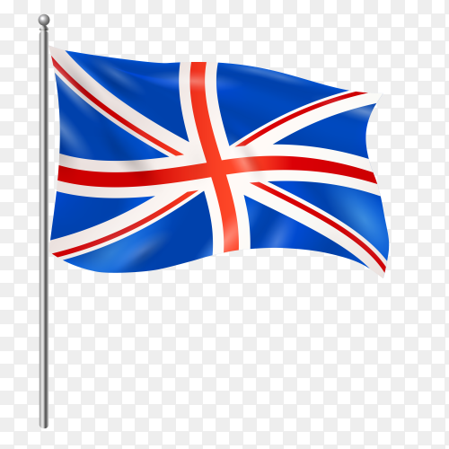 United Kingdom flag waving vector on transparent background PNG