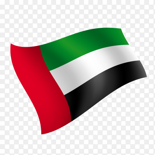 United arab emirates flag – UAE flag waving vector on transparent background PNG