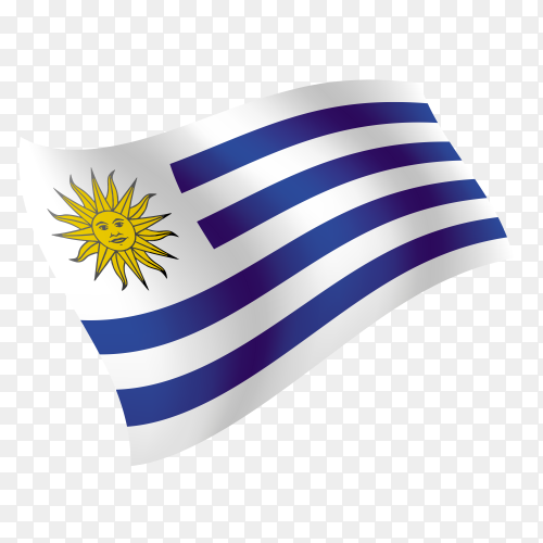 Uruguay flag waving vector on transparent background PNG