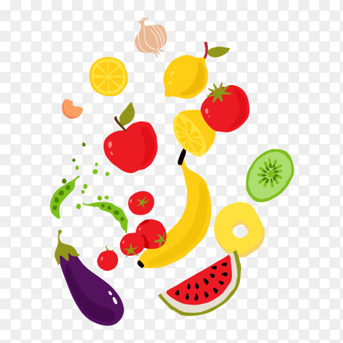 Vegetables and fruits on transparent background PNG