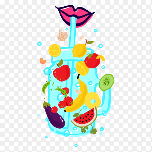 Vegetables and fruits transparent glass smoothie with straw PNG