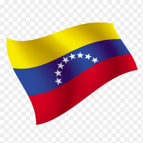 Venezuela flag waving vector on transparent background PNG