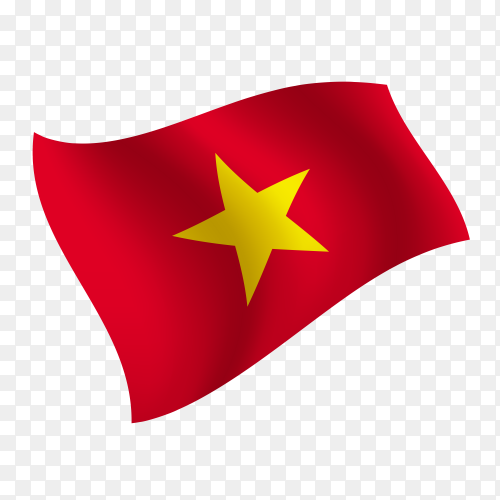 Vietnam flag waving vector on transparent background PNG