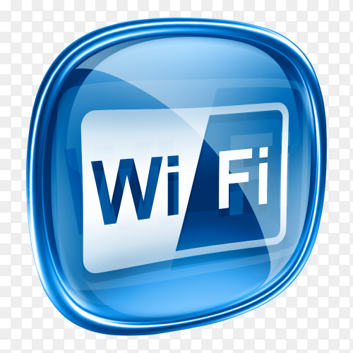 WIFI icon blue glass on transparent background PNG